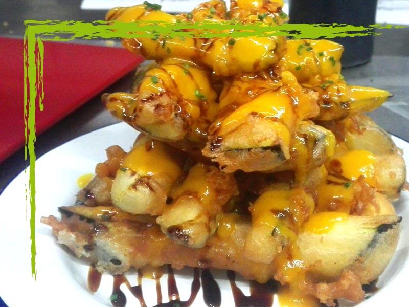Tallos de Berenjenas con miel de caña y mango